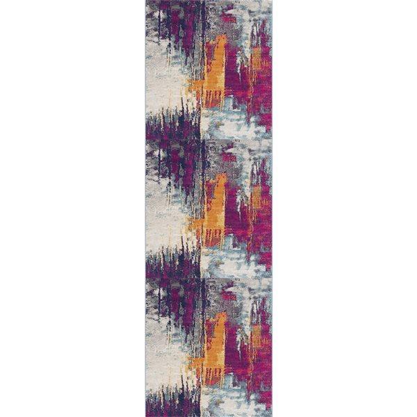 Tapis de passage Savannah multicolore abstrait moderne de 2 x 18 par Rug branch