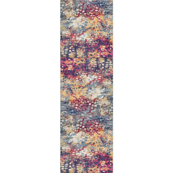 Tapis de passage Savannah abstrait moderne de 2 x 12 par Rug branch, multicolore