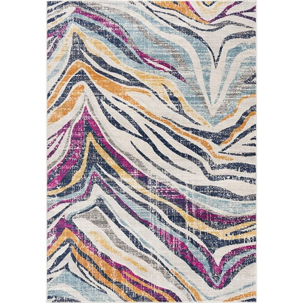 Tapis Savannah multicolore ligné de 2 x 4 par Rug branch