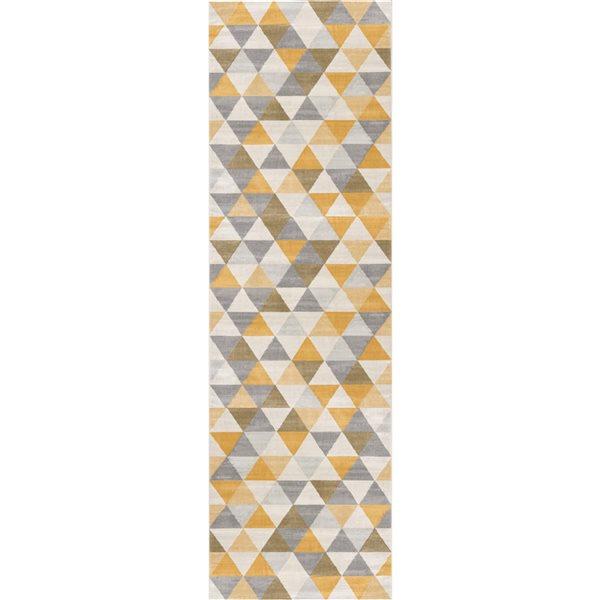Tapis de passage Savannah jaune avec des formes géométriques de 2 x 8 par Rug branch
