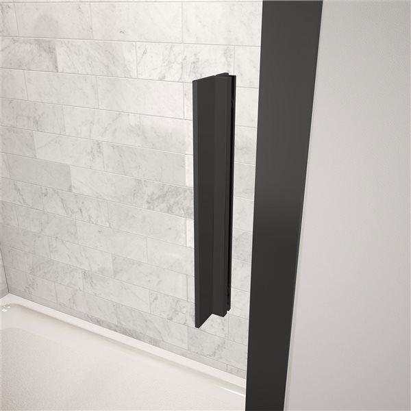 Porte de douche coulissante de 43,5 po à 45 po l. x 72 po h. Connect par MAAX, noir mat/verre clair