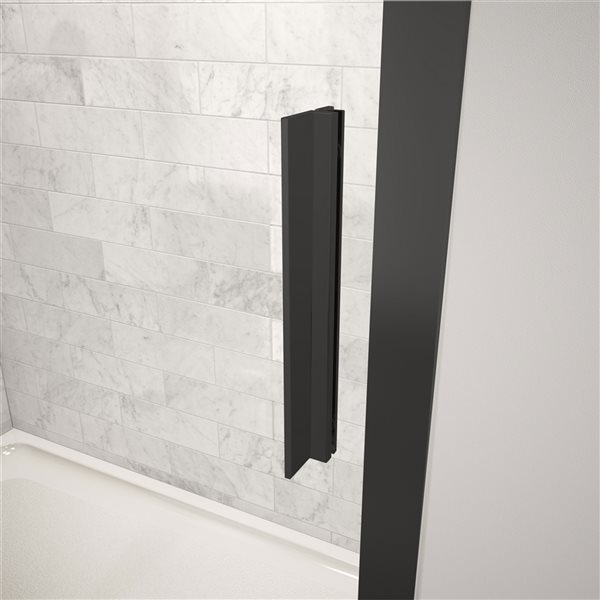 Porte de douche coulissante de 57 po à 58,5 po l. x 72 h. Connect par MAAX, noir mat/verre clair