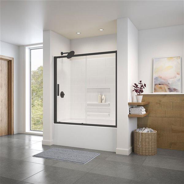 Porte de baignoire/douche coulissante de 57 po à 58,5 l. x 57 po h. Connect par MAAX, noir mat/verre clair