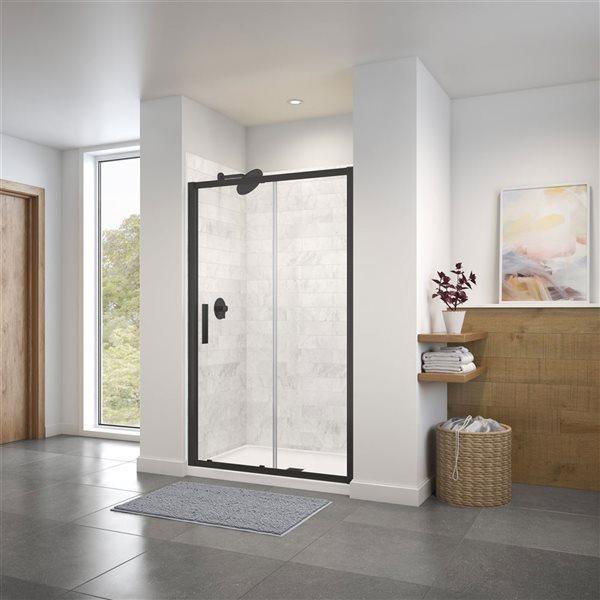 Porte de douche coulissante de 45 po à 46,5 po l. x 72 po h. Connect par MAAX, noir mat/verre clair