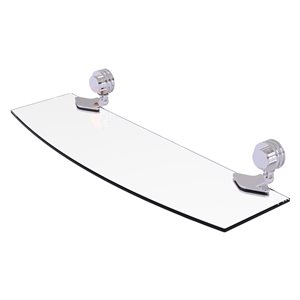 Allied Brass Venus 18-in Polished Chrome 1-tier Glass Wall Mounted Bathroom Shelf with Dotted Accents