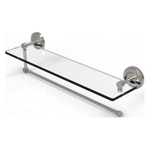 Allied Brass 22-in Metal Wall Mounted Satin Nickel Paper Towel Holder with Glass Shelf