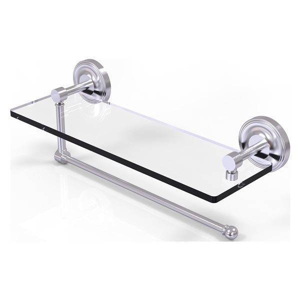 Allied Brass 16-in Metal Wall Mounted Satin Chrome Paper Towel Holder with Glass Shelf