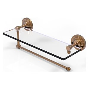 Allied Brass 16-in Metal Wall Mounted Brushed Bronze Paper Towel Holder with Glass Shelf