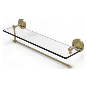 Allied Brass 22-in Metal Wall Mounted Satin Brass Paper Towel Holder with Glass Shelf