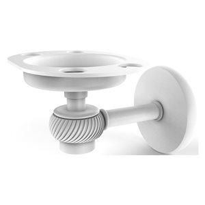 Allied Brass Satellite Orbit One Brass Matte White Tumbler and Toothbrush Holder