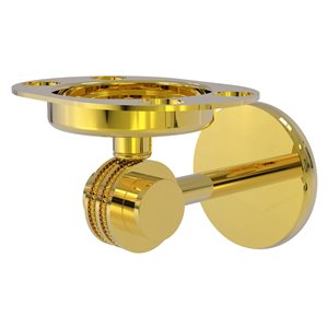 Allied Brass Satellite Orbit Two Polished Brass Toothbrush and Tumbler Holder