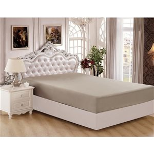 Marina Decoration King Taupe Polyester Bed Sheet