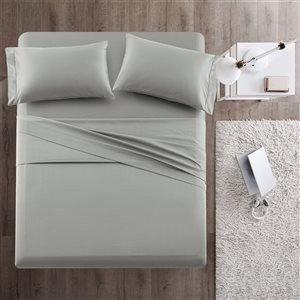 Marina Decoration Queen Silver Cotton Bed Sheets - 4-Piece