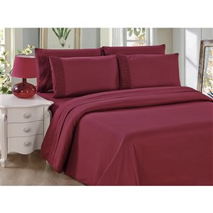 Marina Decoration Twin Burgundy Polyester Bed Sheets - 4-Piece