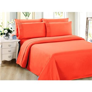 Marina Decoration Twin Orange Polyester Bed Sheets - 4-Piece