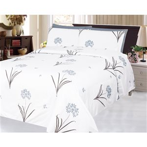 Marina Decoration Twin White and Grey Polyester Bed Sheets - 4-Piece