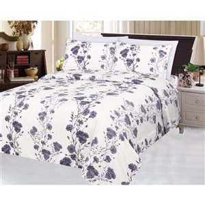 Marina Decoration King Purple and White Polyester Bed Sheets - 6-Piece