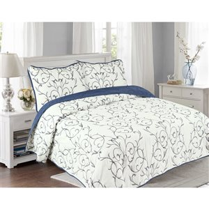 Marina Decoration Navy Blue and White Floral Full/Queen Quilt Set - 3-Piece
