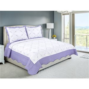 Marina Decoration Purple Floral Full/Queen Quilt Set - 3-Piece