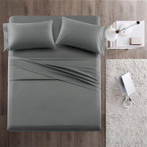 Marina Decoration King Grey Cotton Bed Sheets - 4-Piece
