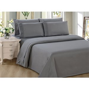 Marina Decoration Twin Grey Polyester Bed Sheets - 4-Piece