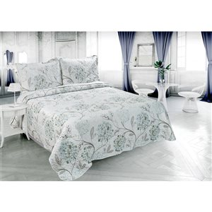 Marina Decoration Blue and White Floral King Quilt Set - 3-Piece