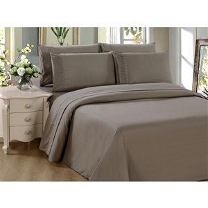 Ensemble de housse de couette Marina Decoration taupe pour grand lit, 3 mcx
