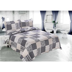 Marina Decoration Navy Blue and Taupe Plaid Full/Queen Quilt Set - 3-Piece
