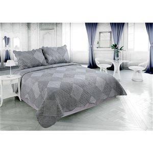Ensemble de courtepointe carreauté Marina Decoration gris et argent pour très grand lit, 3 mcx
