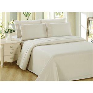 Ensemble de housse de couette Marina Decoration ivoire pour grand lit, 3 mcx