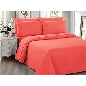 Draps Marina Decoration corail pour grand lit en polyester, 6 mcx