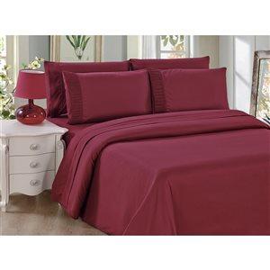 Ensemble de housse de couette Marina Decoration bourgogne pour lit à deux places, 3 mcx