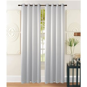 Marina Decoration 95-in White Polyester Blackout Standard Lined Single Curtain Panel