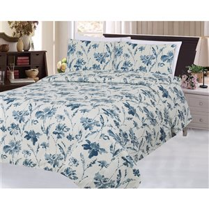 Marina Decoration King Blue and Cream Polyester Bed Sheets - 6-Piece