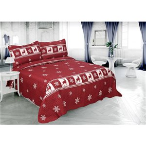 Marina Decoration Red Christmas Full/Queen Quilt Set - 3-Piece