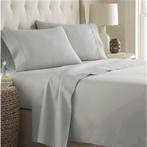 Marina Decoration Twin Silver Cotton blend Bed Sheets - 3-Piece
