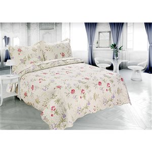 Marina Decoration Red, Purple and Cream Floral King Quilt Set - 3-Piece