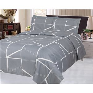 Marina Decoration Queen Grey and White Polyester Bed Sheets - 6-Piece