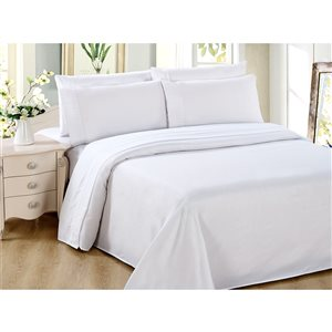 Marina Decoration Full White Polyester Bed Sheets - 6-Piece