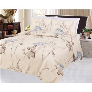 Marina Decoration King Cream and Blue Polyester Bed Sheets - 6-Piece