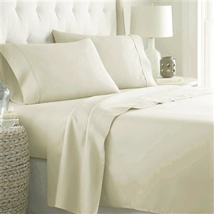 Marina Decoration Full Ivory Cotton blend Bed Sheets - 4-Piece