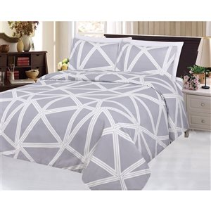 Marina Decoration Twin Light Purple and White Polyester Bed Sheets - 4-Piece