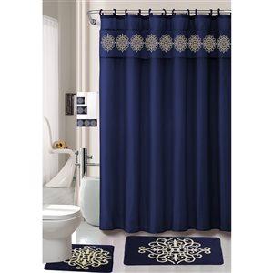 Ens. de tapis de baignoire en mousse viscoélastique/polyester par Nova Home Collection, 27,5 po x 17 po, bleu marine, 18 mcx