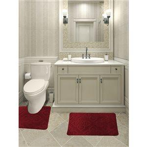 Ens. de tapis de baignoire en mousse viscoélastique/polyester par Nova Home Collection, 36 po x 24 po, bourgogne, 2 mcx
