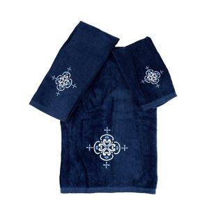 Serviette de bain en coton par Marina Decoration, bleu, 3 mcx