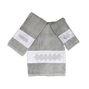 Serviette de bain en coton par Marina Decoration, gris, 3 mcx