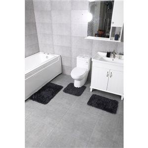 Ens. de tapis de baignoire en polyester par Nova Home Collection, 30 po x 18 po, noir charbon, 3 mcx