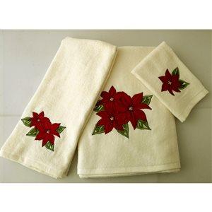 Serviette de bain en coton par Marina Decoration, rouge, ens. de 3