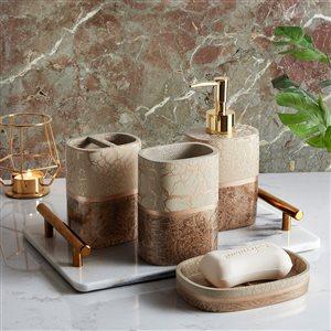 Marina Decoration Brown/Taupe Plastic Bath Accessory Set - 4-Piece