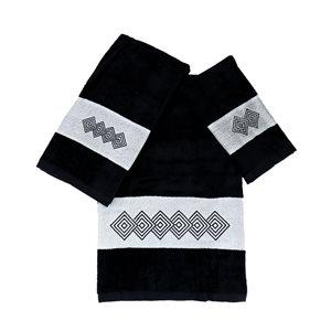 Serviette de bain en coton par Marina Decoration, noir, 3 mcx